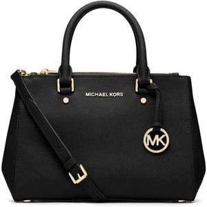 Michael Kors Sutton Black Saffiano Leather Satchel